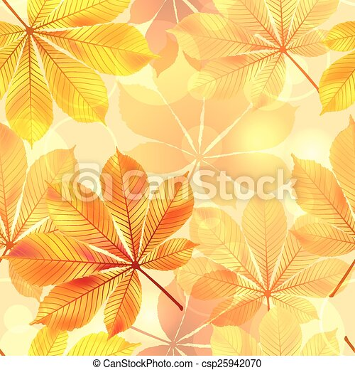 Autumn seamless background with leaves. Vector illustration - csp25942070