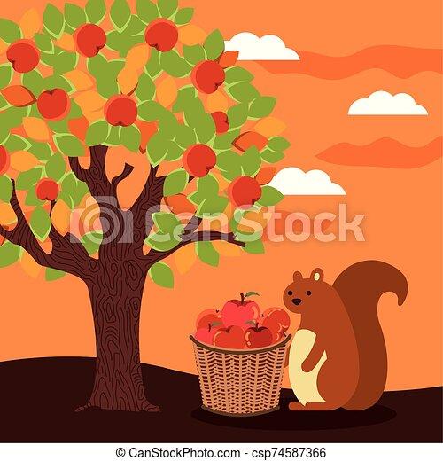 autumn season basket with apples and chipmunk - csp74587366