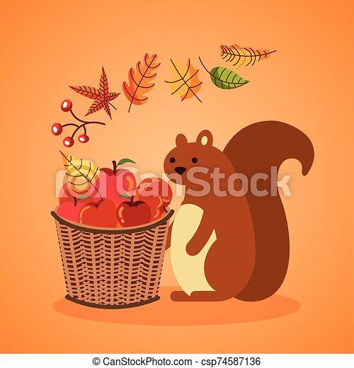 autumn season basket with apples and chipmunk - csp74587136
