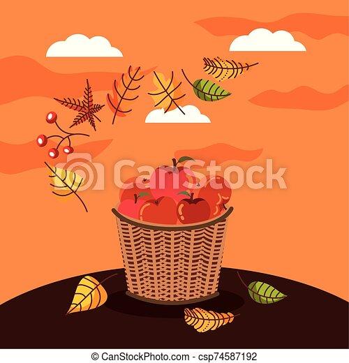 autumn season basket with apples icons - csp74587192