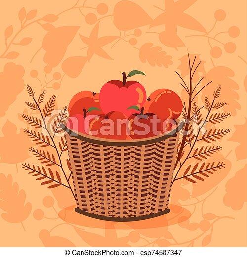 autumn season basket with apples icons - csp74587347