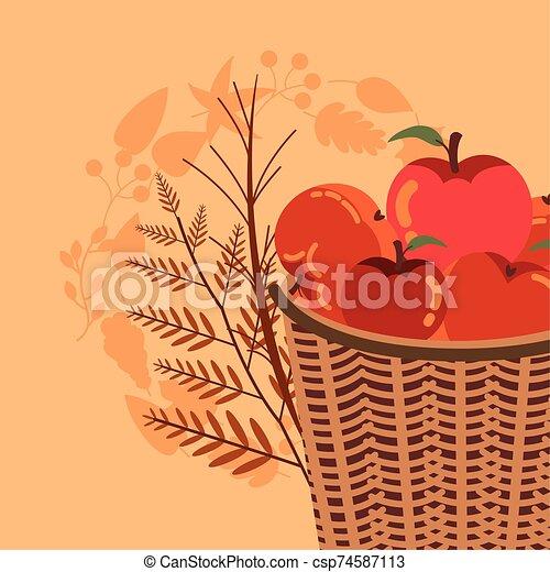 autumn season basket with apples icons - csp74587113