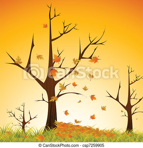 autumn season illustration of maple tree sheding leaves on natural