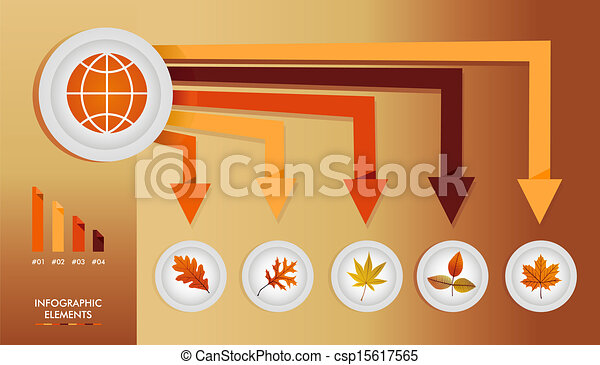 Autumn season infographic illustration template. Global concept arrows with information graphics elements about weather and seasons related issues. EPS10 Vector file in layers for easy editing. - csp15617565