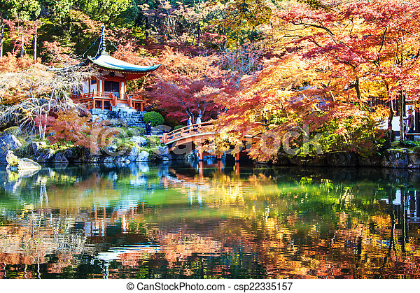 Autumn season, The leave change color of red in Tample japan. - csp22335157