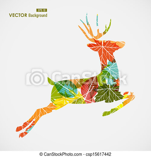 Autumn season transparent leaves reindeer shape background. EPS10 file with transparency for easy editing. - csp15617442