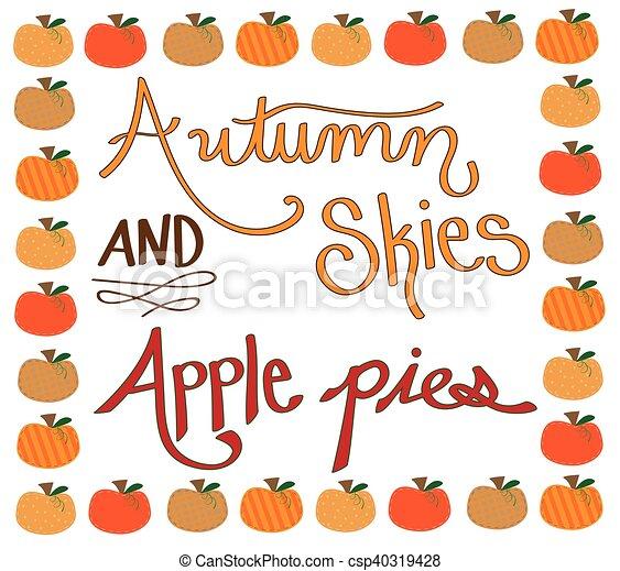 Autumn Skies Apple Pies Pumpkin Border - csp40319428