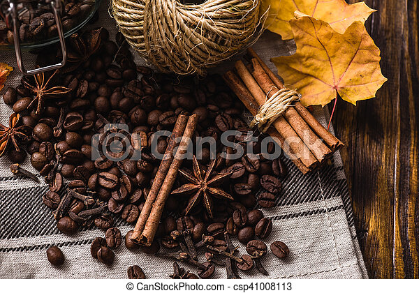 Autumn spices with coffee beans - csp41008113