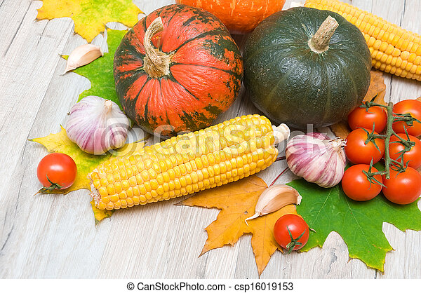 autumn still life of vegetables and autumn maple leaves - csp16019153