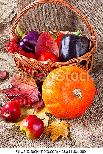 autumn still life of vegetables, fruits and leaves - csp11008899