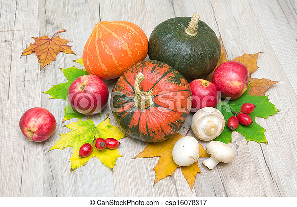 autumn still life. pumpkin, berries, mushrooms and red apples - csp16078317