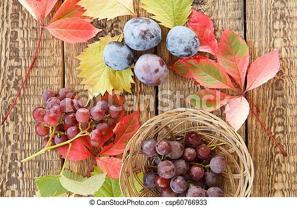 Autumn still life with plums, grapes and wicker basket, yellow and red leaves - csp60766933