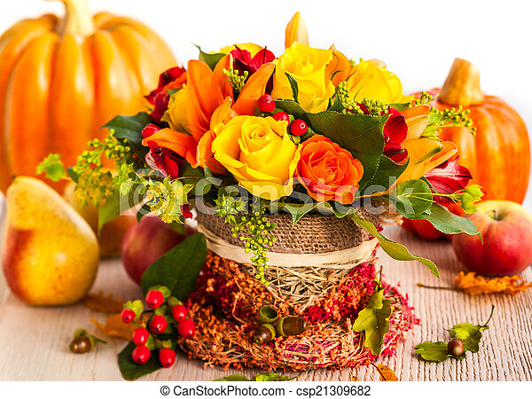 Autumn table setting  - csp21309682