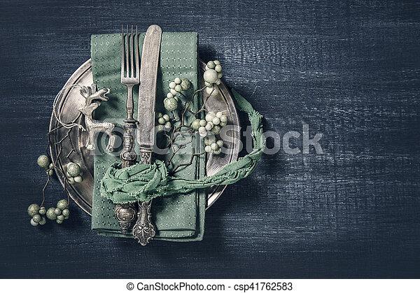 Autumn table setting - csp41762583