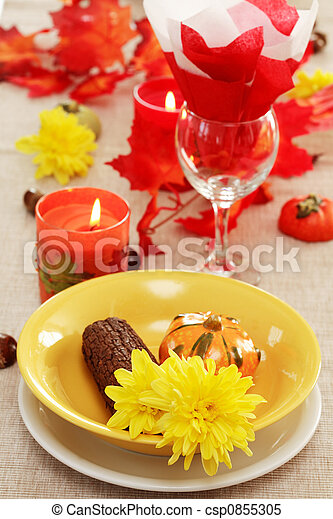 Autumn table setting  - csp0855305
