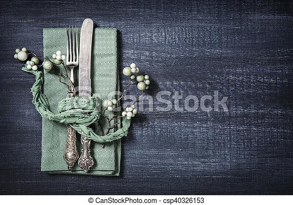 Autumn table setting - csp40326153