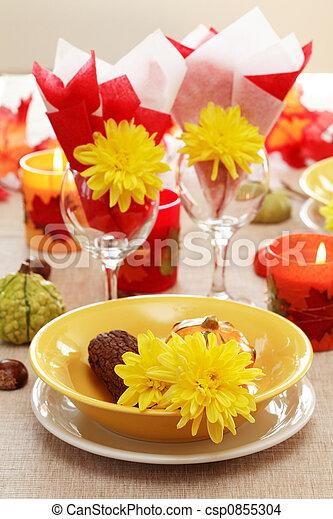 Autumn table setting  - csp0855304