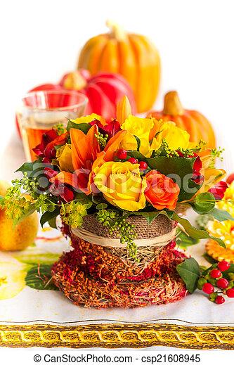 Autumn table setting  - csp21608945