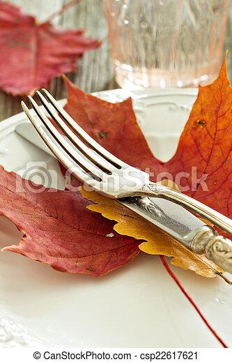 Autumn table setting - csp22617621