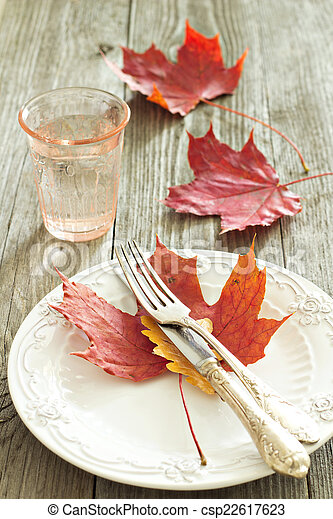 Autumn table setting - csp22617623