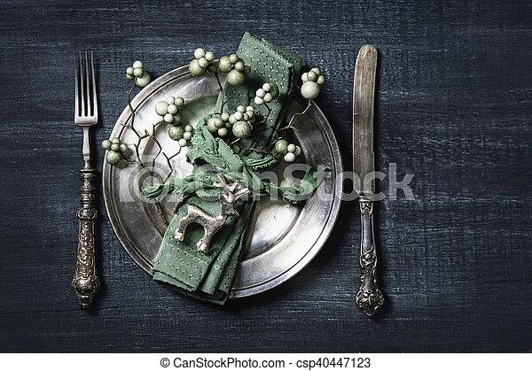 Autumn table setting - csp40447123