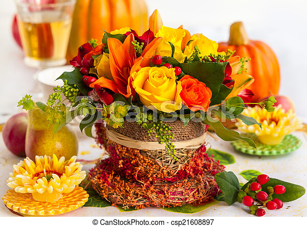 Autumn table setting  - csp21608897