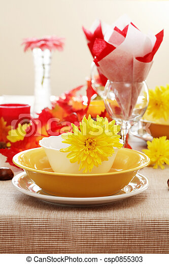 Autumn table setting  - csp0855303