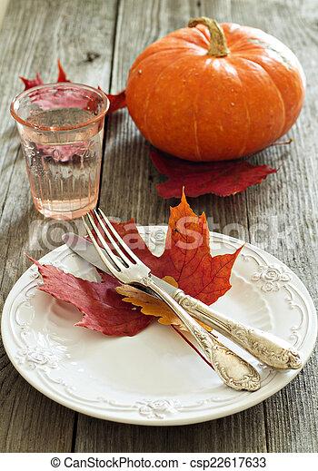 Autumn table setting - csp22617633