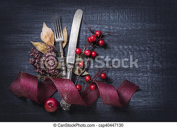 Autumn table setting - csp40447130