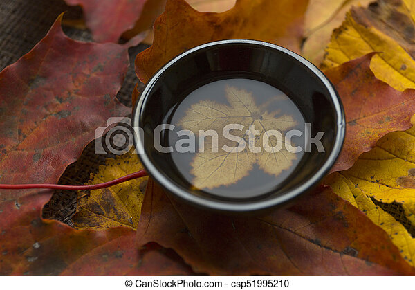 Autumn tea ceremony still life black cup of tea closup background - csp51995210