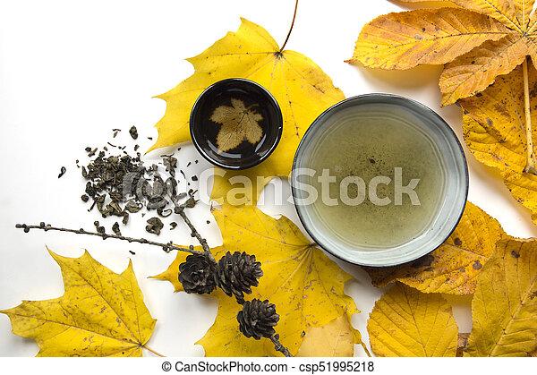 Autumn tea time still life closup on white background - csp51995218