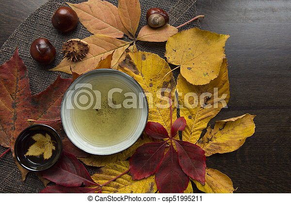 Autumn tea time still life top view closup - csp51995211