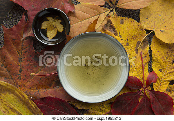 Autumn tea time still life top view closup - csp51995213