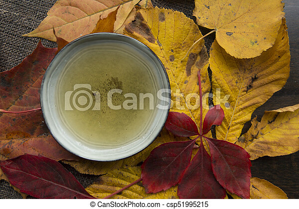 Autumn tea time still life top view closup - csp51995215