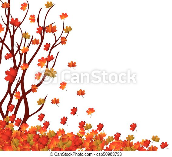 Autumn Tree And Pile Of Leaves Fall Leaves Background