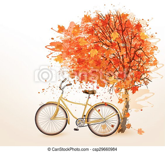 Autumn tree background with a yellow bicycle.  - csp29660984