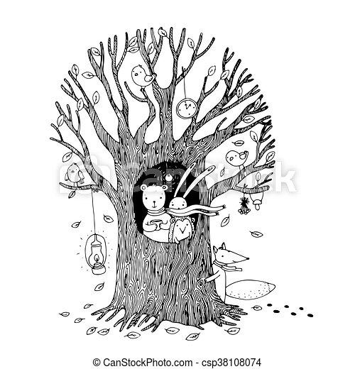 Autumn tree, bear, hare, hedgehog, fox and birds. - csp38108074