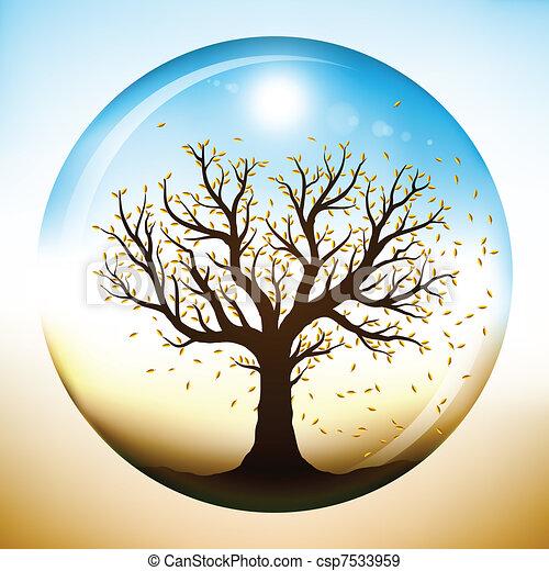 Autumn tree inside glass globe - csp7533959