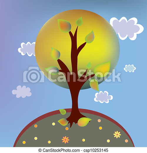 Autumn tree landscape cartoon with clouds - csp10253145