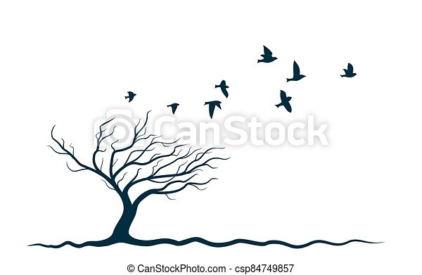 Autumn tree with birds. - csp84749857