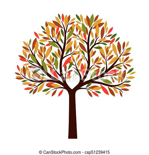 Autumn Tree With Color Leaves Vector Illustration