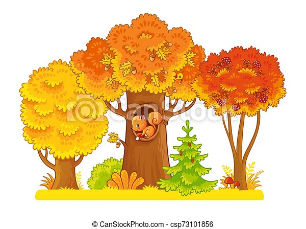 Autumn trees stand on a white background with a squirrel in the hollow. - csp73101856
