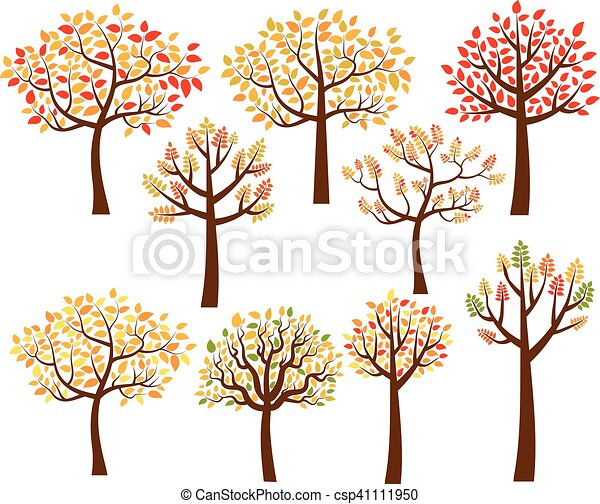 autumn trees with colorful leaves vector set of fall tree