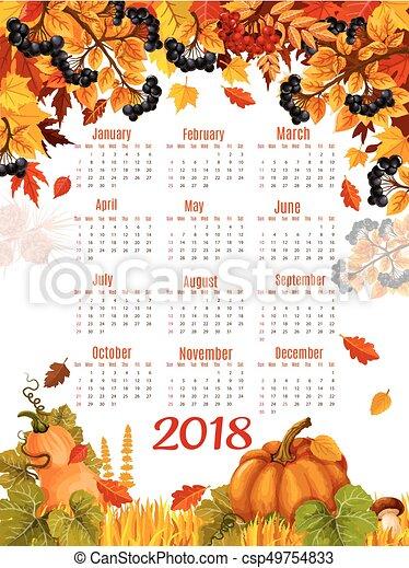 Autumn Vector 2018 Calendar Template Falling Leaf Autumn Calendar