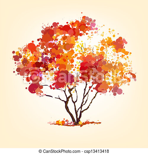 autumn vector tree of blots background - csp13413418
