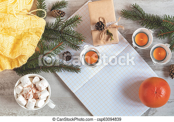 Autumn winter Christmas beautiful background, cozy home concept - csp63094839