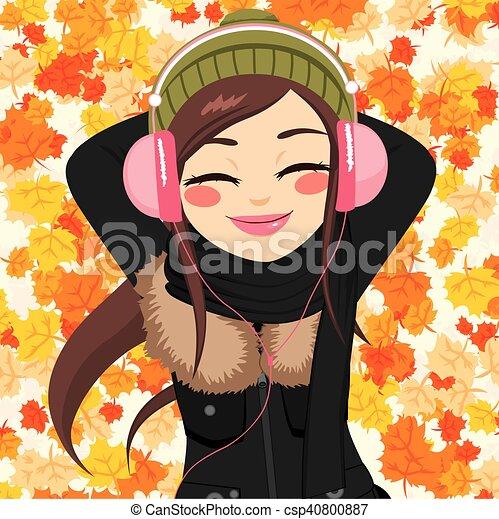 Autumn Woman Listening To Music - csp40800887