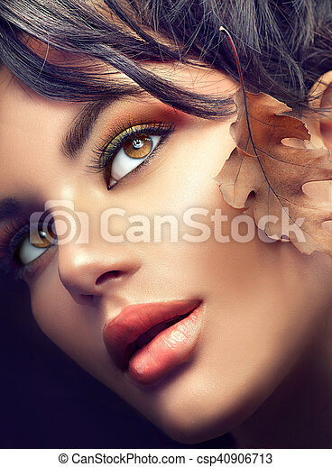 Autumn woman portrait. Fall. Autumn makeup - csp40906713