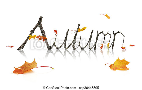 Autumn Word Made from Maple Branches - csp30448595