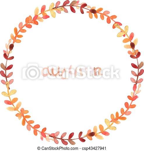 Autumn wreath illustration - csp43427941